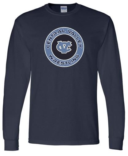 WARRIOR WRESTLING LONG SLEEVE GILDAN TSHIRT NAVY