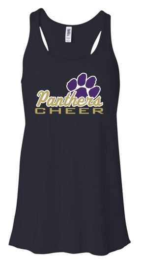 """GLITTER"" PANTHERS CHEER FLOWY TANK TOP"
