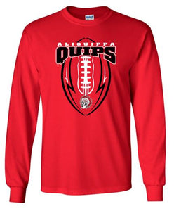 QUIPS FOOTBALL RED LONG SLEEVE GILDAN TSHIRT