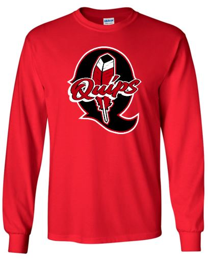 Q FEATHER RED LONG SLEEVE GILDAN TSHIRT