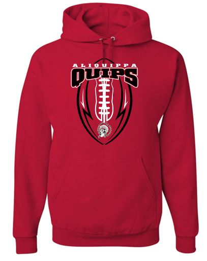 QUIPS FOOTBALL RED MOISTURE WICKING HOODIE