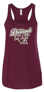 DIAMONDS ARE A GIRLS BEST FRIEND FLOWY TANK TOP