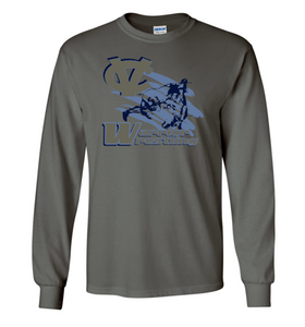 WARRIOR WRESTLING LONG SLEEVE GILDAN TSHIRT GRAY