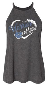 "CV ""GLITTER"" WARRIOR MOM HIGH NECK FLOWY TANK TOP GRAY"