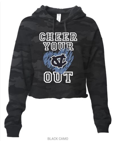 CV WARRIOR CHEER CAMO CROPPED HOODIE