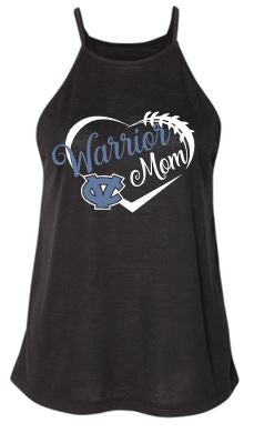 "CV ""GLITTER"" WARRIOR MOM HIGH NECK FLOWY TANK TOP BLACK"