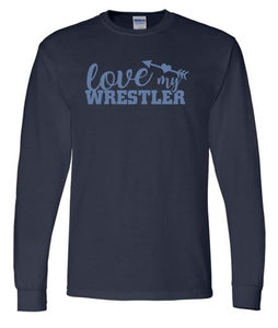 """GLITTER"" WARRIOR LOVE MY WRESTLER LONG SLEEVE GILDAN TSHIRT NAVY"