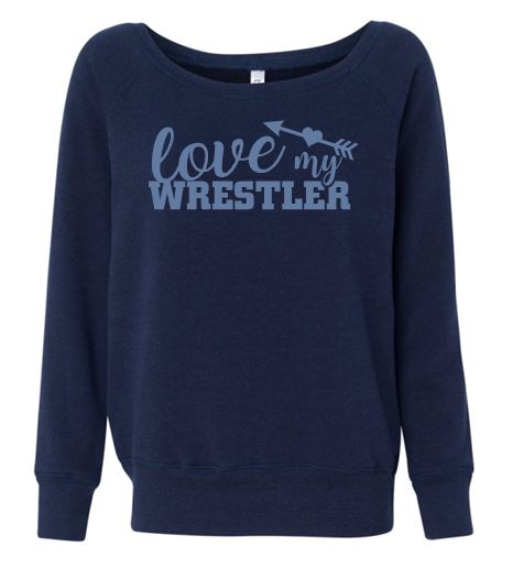"""GLITTER"" WARRIOR LOVE MY WRESTLER OFF THE SHOULDER SWEATSHIRT"