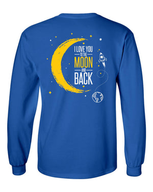 Love You To The Moon Long Sleeve Royal T-shirt
