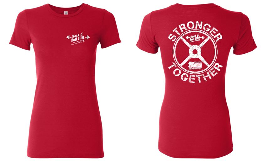 RNR CITY STRONGER TOGETHER LADIES RED TSHIRT