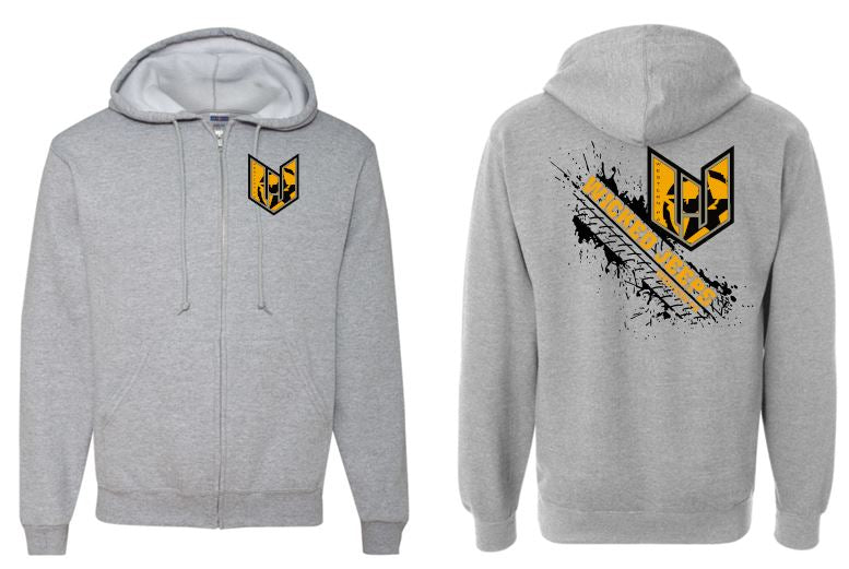 WICKED JEEP TIRE PRINT FULL-ZIP HOODIE