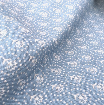 Cornish Blue Blotch Daisy Linen