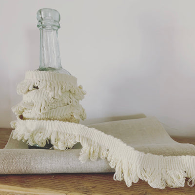 Off White Fan Edge Fringing