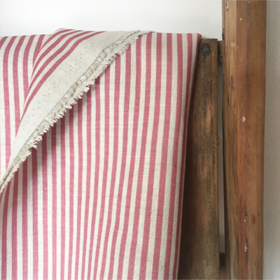 Raspberry Candy Stripe Linen
