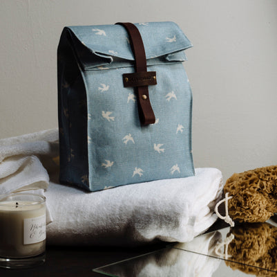 Cornish Blue Skylark Roll Top Luxury Washbag