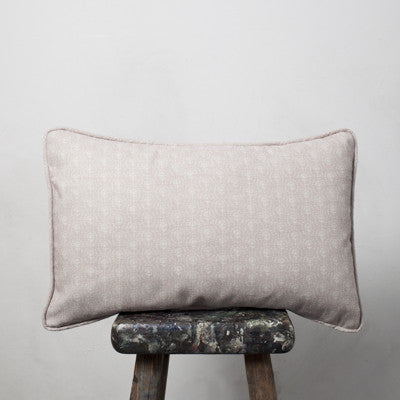 Rose Pink Blotch Daisy Piped Oblong Cushion