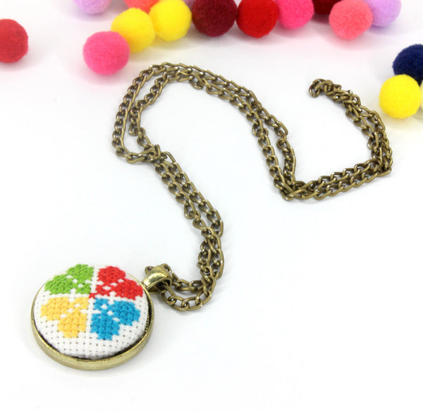 Embroided necklace