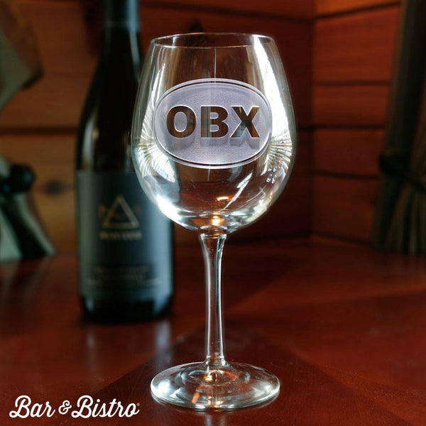 Barware - Classic Oval Monogram Red Wine Glass