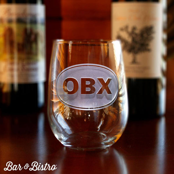 Barware - Classic Oval Monogram Stemless Wine Glass