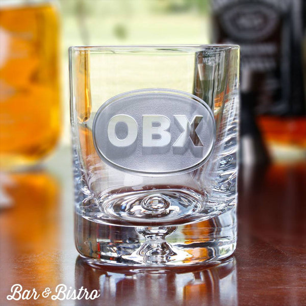 Classic Oval Monogram Whiskey/Rocks Glass