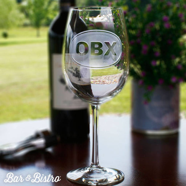 Barware - Classic Oval Monogram White Wine Glass