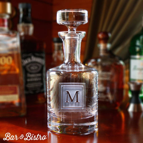 Barware - Engraved Square Monogram Whiskey Decanter