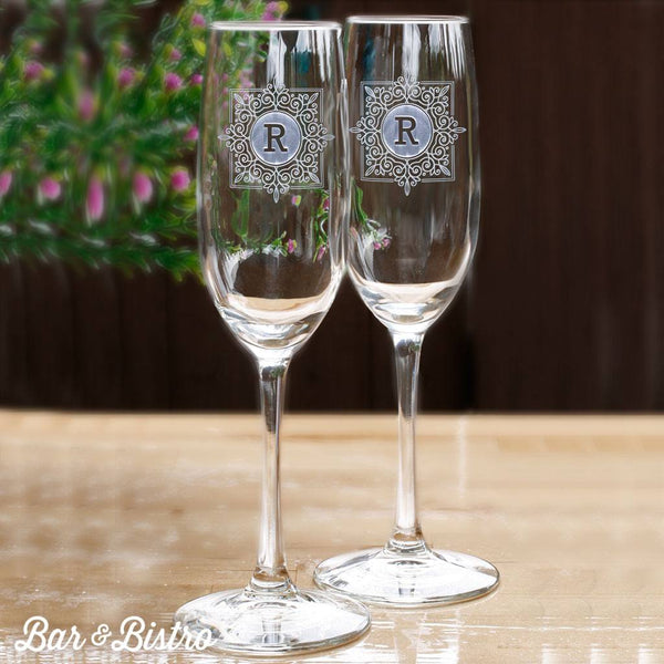 Barware - Fancy Square Monogram Champagne Flute