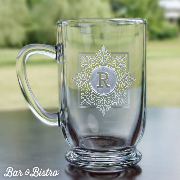 Barware - Fancy Square Monogram Coffee Mug