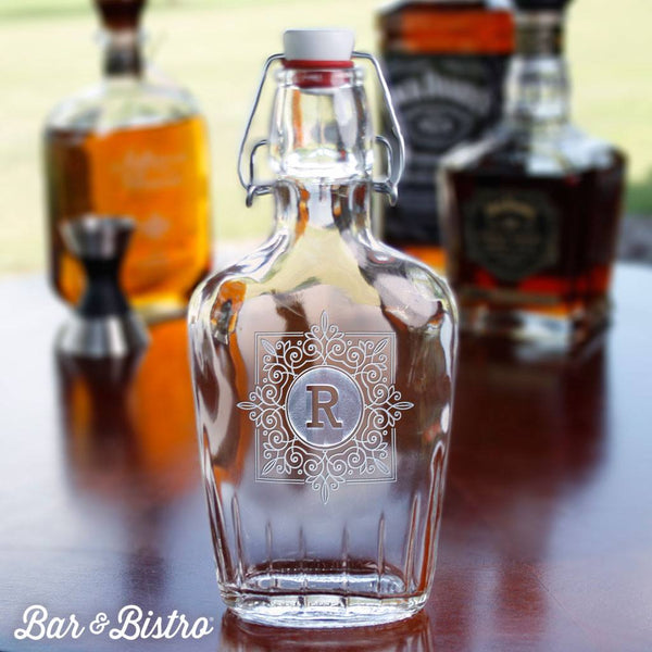Barware - Fancy Square Monogram Flask