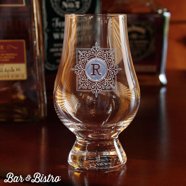 Barware - Fancy Square Monogram Glencairn Glass