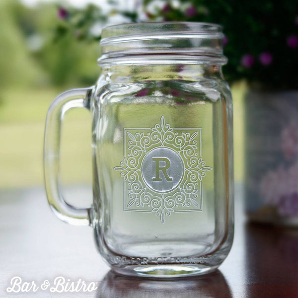 Barware - Fancy Square Monogram Mason Jar Mug