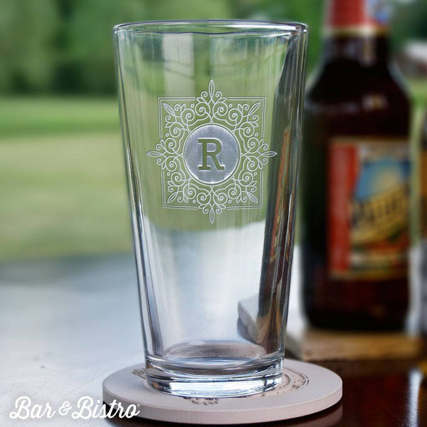 Barware - Fancy Square Monogram Pint Glass