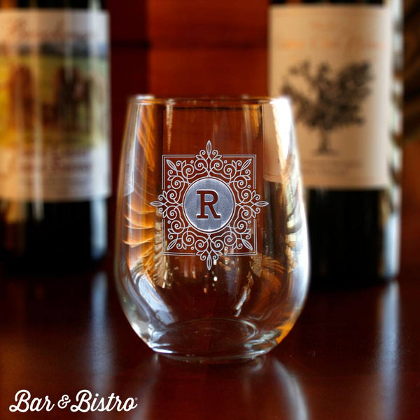 Barware - Fancy Square Monogram Stemless Wine Glass