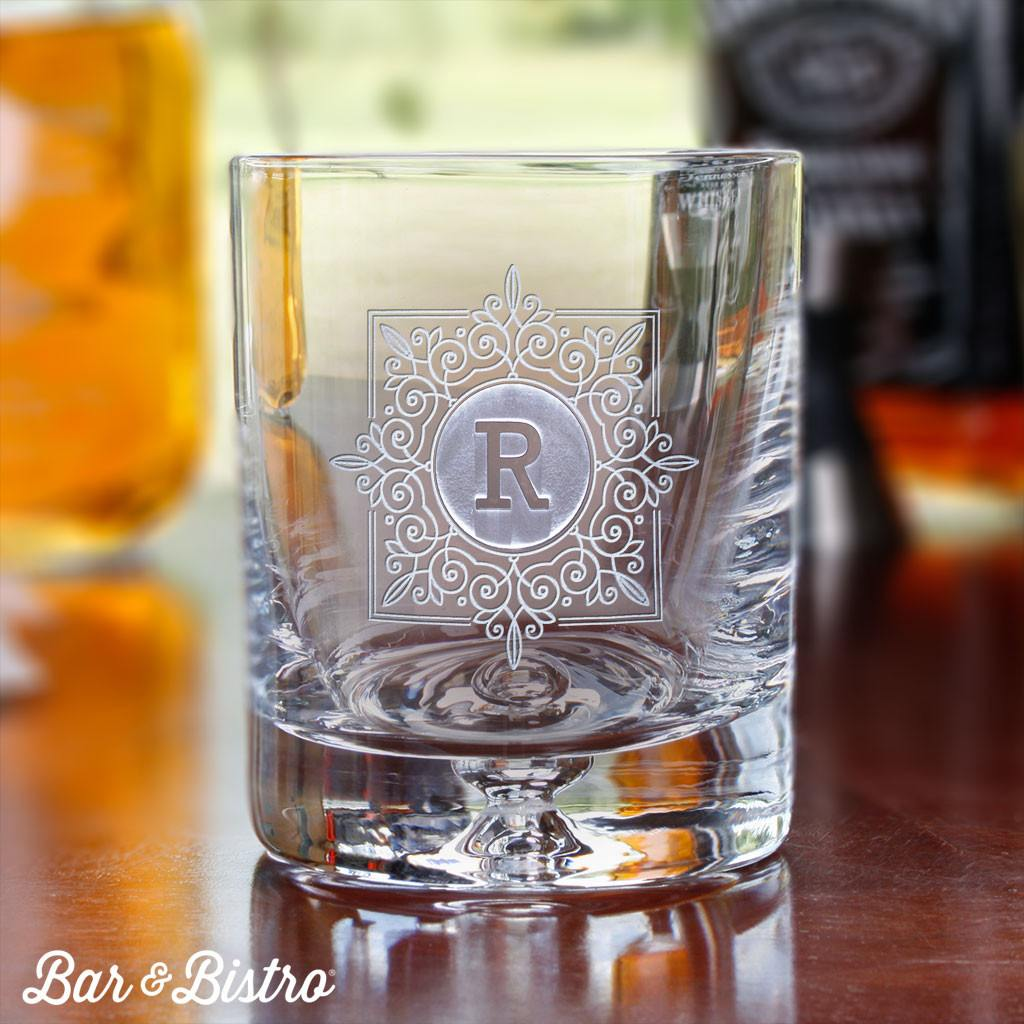 Barware - Fancy Square Monogram Whiskey/Rocks Glass