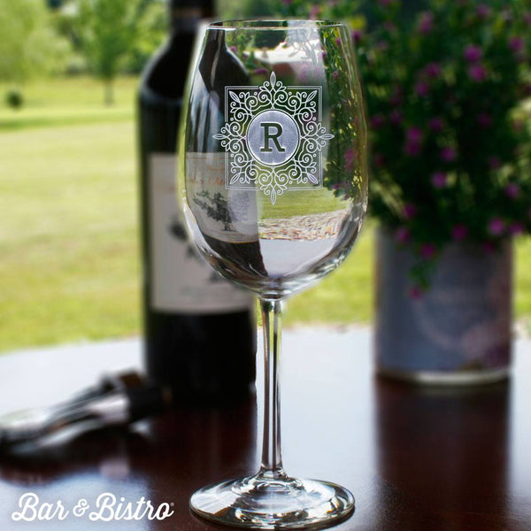 Barware - Fancy Square Monogram White Wine Glass