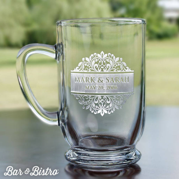 Barware - Floral Border Engraved Coffee Mug