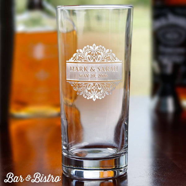 Barware - Floral Border Engraved Cooler Glass