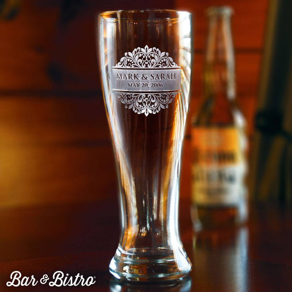 Barware - Floral Border Engraved Pilsner Beer Glass