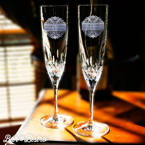Barware - Floral Border Engraved Waterford Champagne Glass Flute