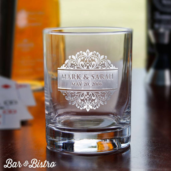 Barware - Floral Border Whiskey/Rocks Glass