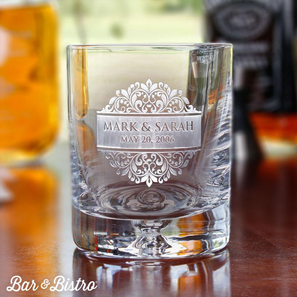 Floral Border Whiskey/Rocks Glass