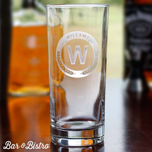 Barware - Round Monogram Cooler Glass