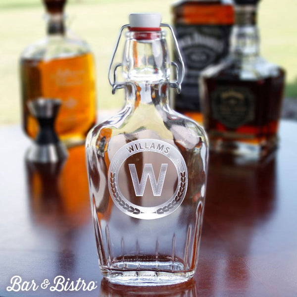 Barware - Round Monogram Flask