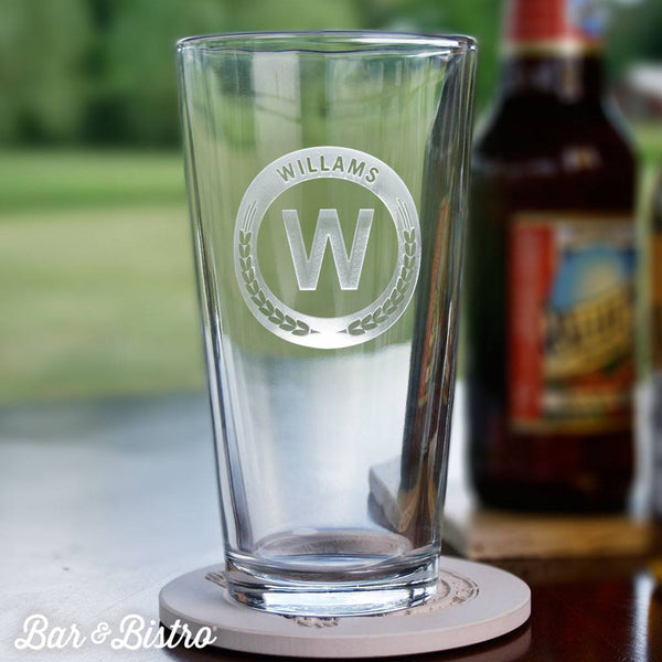 Barware - Round Monogram Pint Glass