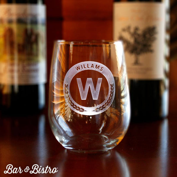 Barware - Round Monogram Stemless Wine Glass