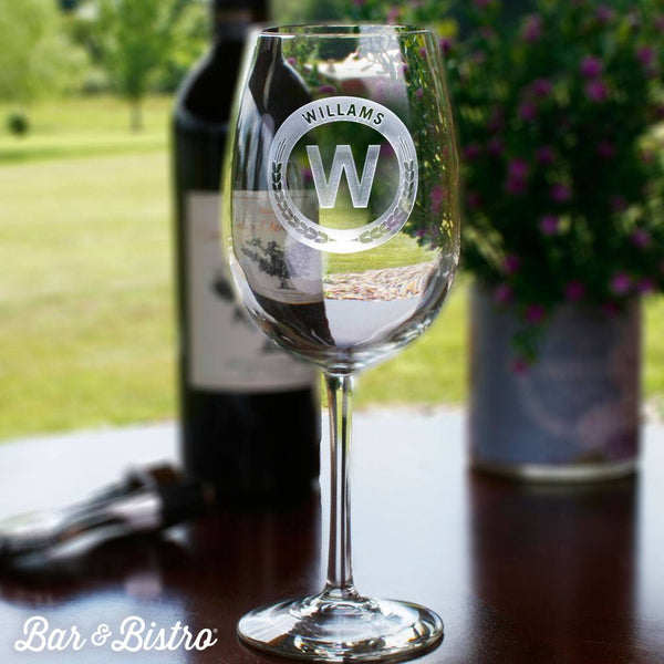 Barware - Round Monogram White Wine Glass