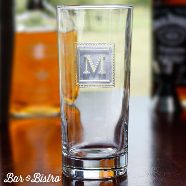 Barware - Square Monogram Cooler Glass
