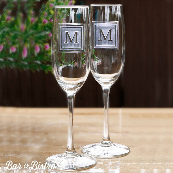 Barware - Square Monogram Engraved Champagne Glass Flute