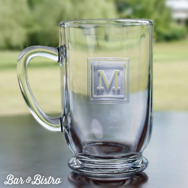 Barware - Square Monogram Engraved Glass Coffee Mug