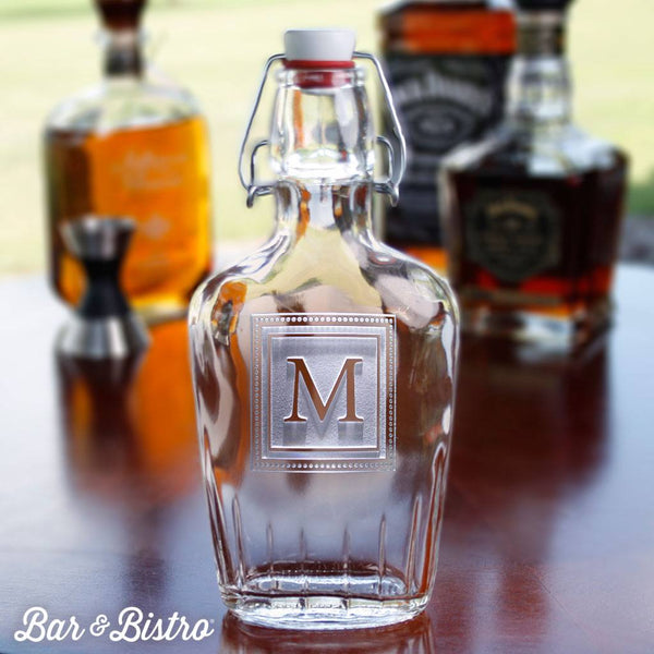 Barware - Square Monogram Engraved Glass Flask